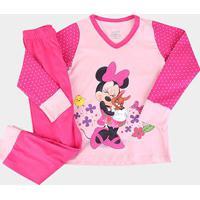 Pijama Infantil Disney Kf Minnie Longo Lupo Feminino - Feminino-Rosa