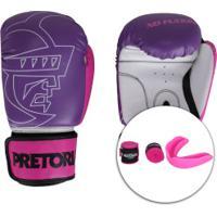 Kit Boxe Muay Thai Pretorian: Bandagem + Protetor Bucal + Luvas First - 10 Oz - Feminino - Roxo/Branco