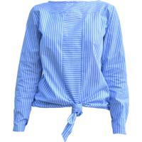 Blusa Cz Brand Tricoline Amarrada Listrada Azul