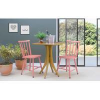 Conjunto Mesa Bistrô Com 2 Cadeiras Quadrada Juliette - Amêndoa E Rosa Coral