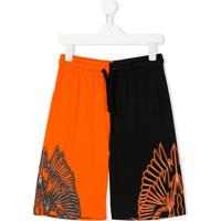 Marcelo Burlon County Of Milan Kids Wing-Print Contrast Shorts - Preto