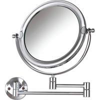 Espelho De Parede Dupla Face Com Braço Duplo Mobile Cromado