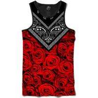 Camiseta Bsc Regata Rose Bandana Full Print - Masculino-Preto