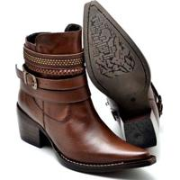 Bota Top Franca Shoes Country Bico Fino Feminina - Feminino-Caramelo