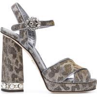 Dolce & Gabbana Sandália Plataforma Em Couro - Cinza