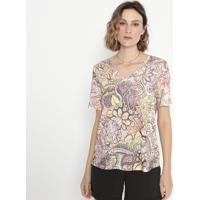 Blusa Floral Com Recortes- Rosa & Verde Claro- Cottocotton Colors Extra