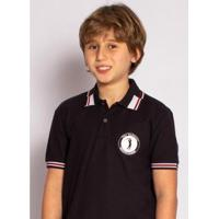 Camisa Polo Aleatory Kids Hurricane Masculina - Masculino-Preto