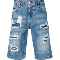 Philipp Plein Bermuda Jeans Com Efeito Puído - Azul
