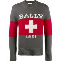 Bally Suéter Swiss Com Logo - Cinza