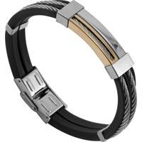 Bracelete Tudo Jóias De Aço Com Silicone Cabo Náutico Folheação - Unissex-Prata+Preto