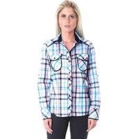 Camisa Xadrez Miss Joy Tricoline Feminina - Feminino-Azul Claro+Branco