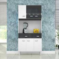 Cozinha Compacta Kit Manu 6 Portas Com 2 Gavetas E Branco / Preto Poquema