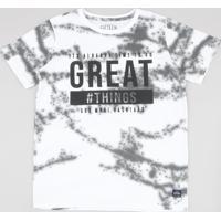 Camiseta Juvenil Estampada Tie Dye Manga Curta Off White