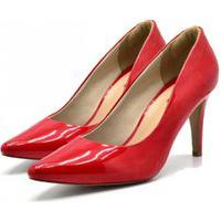 Sapato Feminino Scarpin Salto Alto Fino Em Napa Verniz Vermelho