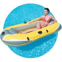Bote Inflável Deltamax Hydro Force Raft Para 3 Pessoas 2,28X1,21 - Amarelo/Cinza