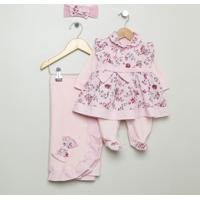 Saída Maternidade Floral - Rosa Claro & Rosa - 4Pçs