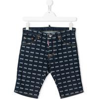 Dsquared2 Kids Short Jeans Icon Com Padronagem - Azul