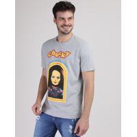 Camiseta Masculina Chucky Manga Curta Gola Careca Cinza Mescla