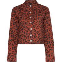 Miaou Jaqueta Jeans Animal Print - Vermelho