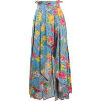 Ultràchic Ruffled Waistband Printed Skirt - Azul