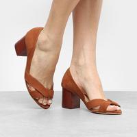Peep Toe Couro Shoestock Salto Grosso - Feminino