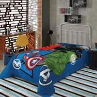 Manta Fleece Solteiro Lepper Estampada Avengers Azul