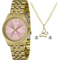Relógio Lince Feminino Dourado C/ Semijóia - Lrgj136L-Kz41R3Kx
