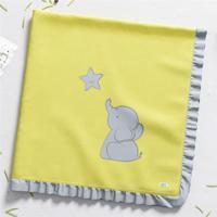 Manta Bebê Unissex Elefantinho Amarelo Algodão Grão De Gente Rosa