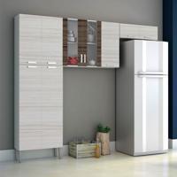 Cozinha Compacta Alfa Top 9 Portas Branco Com Rovere E Dubai Kit'S Paraná