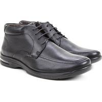 Sapato Conforto Couro Democrata Air Fly Masculino - Masculino-Preto