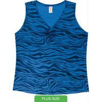 Blusa Sem Manga Estampada Azul
