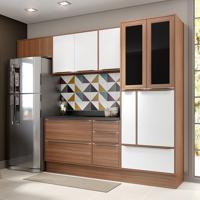 Conjunto Cozinha Nogueira Com Rodapé 07 Módulos Marrom E Branco 10 Portas - Multimóveis