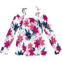 Blusa Floral Com Amarraã§Ã£O- Branca & Rosahering