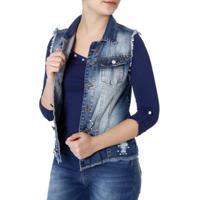 Colete Jeans Naraka Feminino - Feminino-Azul