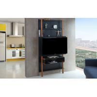 Rack Suspenso - Painel De Madeira Para Tv Preto Para Tv Até 42 Polegadas Karl Woodinn - 99,8X25,5X180 Cm