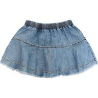 Saia Jeans Babado Cristal Pituchinhu'S - Feminino-Azul