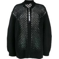 Love Moschino Loose Knit Zip Cardigan - Preto