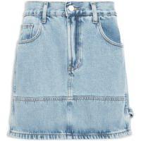 Saia Jeans Mini Recortes - Azul