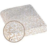 Manta Fleece Arabescos Casal- Branca & Bege- 210X230Lepper