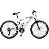 Bicicleta Master Bike Aro 26 Masculina Totem Suspensão Full Baixa A-36 21 Marchas Branco