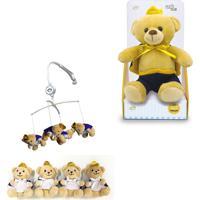 Móbile + Urso Príncipe De Pelúcia 20 Cm - Unik Toys Bege - Kanui
