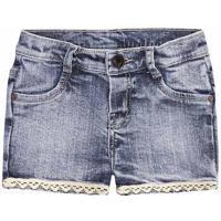 Shorts Jeans Bebê Menina Com Detalhe De Renda Puc