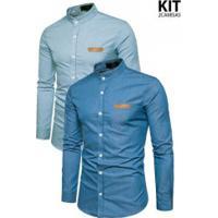 Kit 2 Camisas Slim Fit Whatlees - Azul Clara E Azul Escura