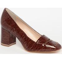 Sapato Tradicional Em Couro Croco Com Vazado - Marrom Esjorge Bischoff