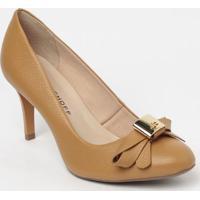 Sapato Tradicional Em Couro Com Laã§O- Marrom Claro- Jorge Bischoff