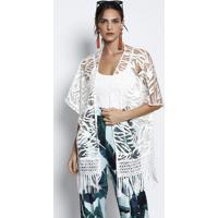 Kimono Com Renda & Franjas - Off Whitemax Glamm