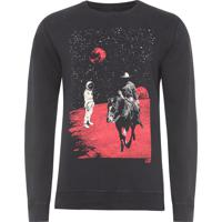Blusa Masculina Fleece Space Ride - Preto