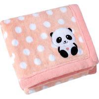 Manta Fleece Panda- Laranja Claro & Branca- 76X102Cmlepper