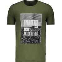 Camiseta Puma Photoprint Skyline Masculina - Masculino-Verde