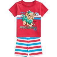 "Pijama ""I'M A Pugsaurus Rex""- Vermelho & Azul Claro-Brandili"